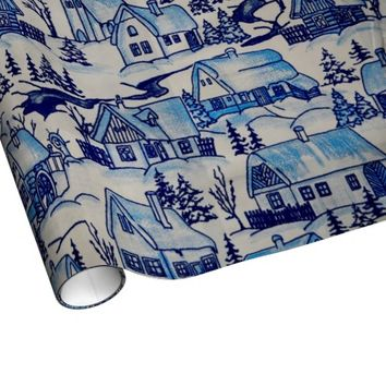 Vintage Blue Christmas Holiday Village Wrapping Paper