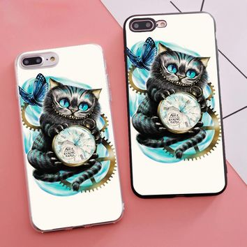 Minason Coque Cheshire Cat Alice in Wonderland Soft Silicone Fitted Housings Phone Case for iPhone X 5s SE 6 S 6s 7 8 Plus Cover