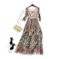 Gorgeous Half Sleeves Sheer Mesh Embroidery Bohemian Long Dress