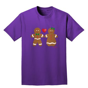 Gingerbread Man and Gingerbread Woman Couple Adult Dark T-Shirt by TooLoud