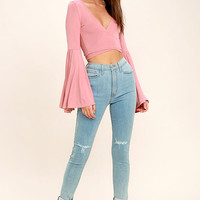Tender Touch Blush Pink Long Sleeve Crop Top