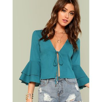 Tiered Bell Sleeve Knot Blouse