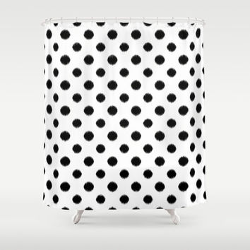 Shower Curtain - Black and White Ikat Polka Dot - Dorm Shower Curtain - Glamour Decor - Bathroom Shower Curtain - Teen Room Decor