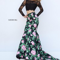 Sherri Hill 50400 Long Sleeve Lace Two Piece Mermaid Gown