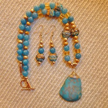 Handcrafted Ocean Blue Variscite Pendant, Grace Lampwork Beads, Blue Chalcedony Gold Filled Necklace