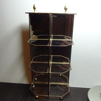 Vintage Glass and Brass Footed Table Top Display Shelf/Box - Hollywood Regency/Mid Century Modern