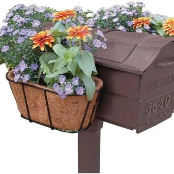 Mailbox Planter Pair Flower Post Decorative Mail Garden Decor Coco Mat Outdoor