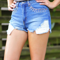The Stud Life High Waisted Shorts: Denim | Hope's