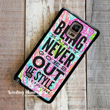 Lilly Pulitzer Quote-Lets Cha Cha-Being Happy Never Gose Out Be Style Samsung Galaxy Note 4 Case Cover for Note 3 Note 2 Case