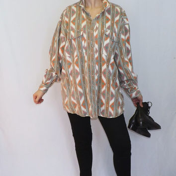 Vintage Retro 1980s 90s Guess by Georges Marciano Cotton Shirt Top Shirt Women's Mens Button Up Blouse Boho Hipster Size Large Southwestern