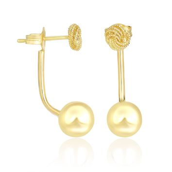 14K Yellow Gold Double Sided Knot and Ball Design Earrings