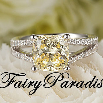 2.5 Ct Cushion Cut Fancy Yellow Lab Created diamond Split Shank Solitaire Engagement Wedding Promise Ring - made to order ( FairyParadise )