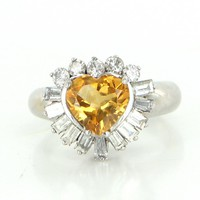 Vintage Heart Diamond Golden Topaz 14 Karat White Gold Cocktail Ring Estate Jewelry