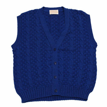 Vintage 80s Pendleton Blue Cableknit Sweater Vest Mens Size Small