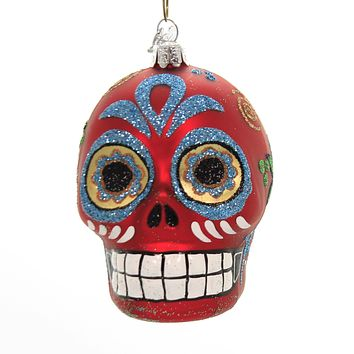 Noble Gems SUGAR SKULL ORNAMENT Glass Halloween Day Of The Dead Nb0830 Red