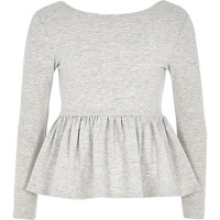 River Island Girls grey peplum top