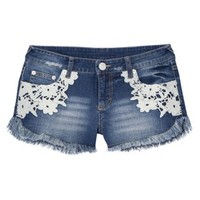 Mossimo Supply Co. Junior's Lace Detail Denim Short