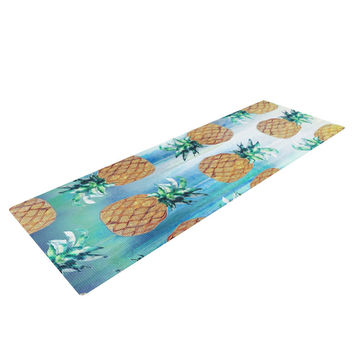 "Nikki Strange ""Pineapple Beach"" Blue Brown Yoga Mat"