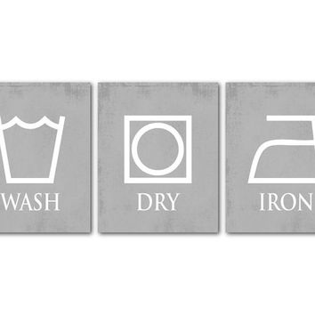 Wash Dry Iron - Laundry Room Art - Set of Three Laundry Prints - Room Decor - Laundry Symbols - Weathered look chalkboard
