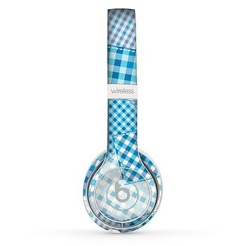 The Blue Plaid Patches Skin Set for the Beats by Dre Solo 2 Wireless Headphones