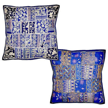 2pc Blue Throw Pillow cushion for couch Blue Indian Decorative Cushion Cover Soft Furnishing wholesale vintage indian decorative throw pilow