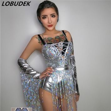 Colorful stones Diamond sequins Bodysuit V-neck sexy slim jumpsuit female singer Nightclub DJ DS costume Teams Party show