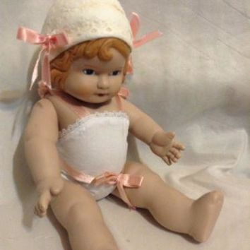 Rosie All Vinyl Doll Daisy Kingdom 1991 hard Baby Bonnet Hat Bodysuit Pink Bows