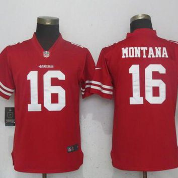 Women Nike San Francisco 49ers 16 Montana Red 2017 Vapor Untouchable Elite Player