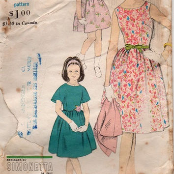 Vogue 5863 Designer Sewing Pattern 1960s Simonetta Italy Girls Full Skirt Tea Dress Garden School Girl Petticoat Size 14