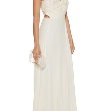 Embroidered tulle-paneled silk-georgette gown | Marchesa Notte | US | THE OUTNET