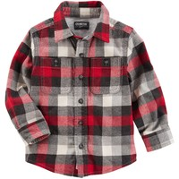 Button-Front Plaid Flannel Shirt