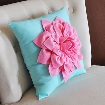Baby Nursery Decor Pink Dahlia on Bright Aqua Pillow 14 x 14