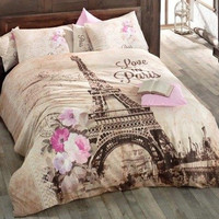 High Quality Turkish New York London Paris Eiffel Tower Twin QUEEN Double Bedding Duvet Cover set