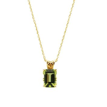 Emerald/Octagon-Cut Peridot Necklace in 14k Yellow Gold, 18 Inch