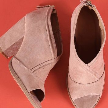 Qupid Suede Peep Toe Chunky Heeled Ankle Boots