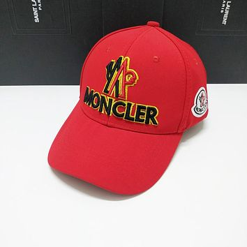 Moncler Fashionable Embroidery Sports Sun Hat Baseball Cap Hat Red