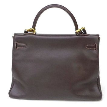 Hermes Kelly 35 Leather Chocolate Hand Tote Bag Used Excellent++