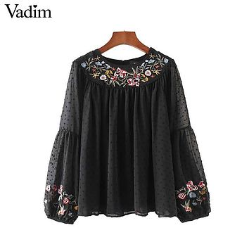 Vadim women floral embroidery chiffon shirts pleated bow tie sleeve vintage black blouse ladies casual tops blusas LT2138