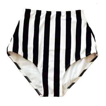 White Black Stripe Retro Vintage High Waist Waisted Rise High-waist Knickers Bottom Bottoms Bikini set Swimsuit Bathing suit suits S M L XL