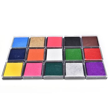 1PC 15 colors Cute Inkpad Craft Oil Based DIY Ink Pads for Rubber Fingerprints Stamps Fabric Scrapbook Wedding Decor Ink Pad