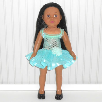 Aqua Dance Outfit for 18 inch Doll Clothes with Sequin Leotard and Ribbon Tutu American Doll Clothes