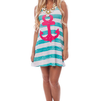 Mint Striped Anchor Tank Dress