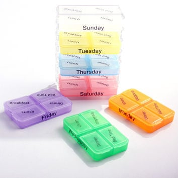 Medicine Weekly Storage pillbox 7 Day Tablet Sorter medicine Box Container Case Organizer pill cutter