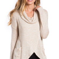 Cozy By The Fire Cowl Neck Sweater