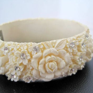 Vintage Celluloid White Roses and Rhinestones Clamper Bracelet