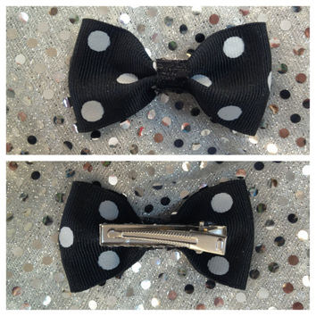 2 Black & White Polka Dot Alligator Clips  Bow Ribbon Cheer Dance School
