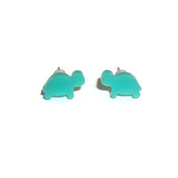 Mint Green Turtle Earrings, Tiny Dainty Cute Tortoise Stud Earrings, Kawaii Jewelry