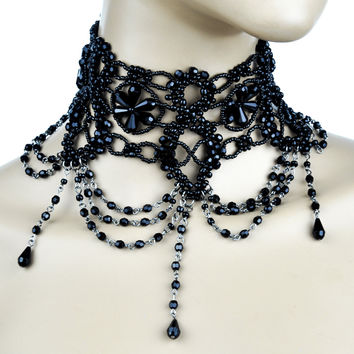 Black Bead Victorian Style Burlesque Choker Gothic Necklace