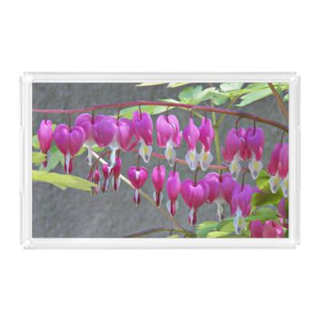 Pink Bleeding Hearts Floral Serving Tray