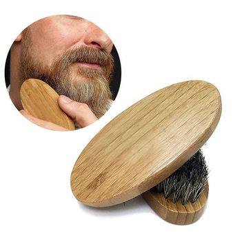 Men's Natural Boar Bristle Beard Mustache Brush Wood Military Comb Grooming Tool